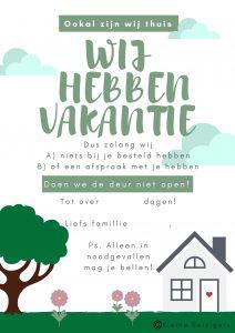Thuisblijf Vakantie Poster | Kleine Reizigers